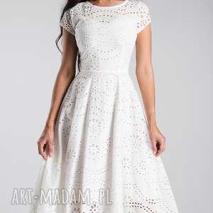 Livia Clue sukienka klara total midi haft richelieu biel - biała z-bawełny