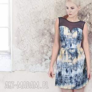 niebieskie sukienki wzór sukienka koktajlowa - hiszpańska