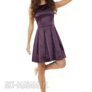 sukienki: Sukienka kontrafałda kolor śliwkowy - modna sylwestrowa