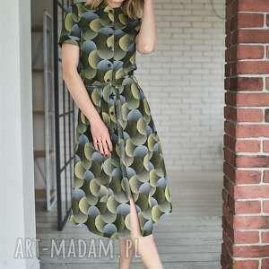 zygzak sukienki: sukienka koszulowa z guzikami | safari winyle - dzianina bawelna