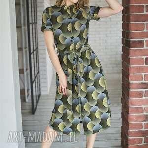 zygzak sukienki dzianina sukienka koszulowa z guzikami |