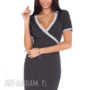 niekonwencjonalne sukienki sukienka l_1 ciemnoszary jasnoszary