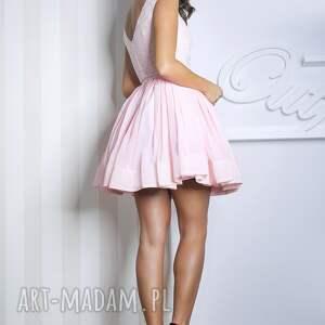 handmade sukienki mini sukienka lana różowa