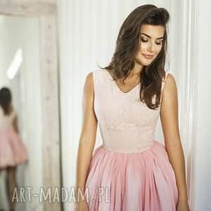 sukienki rozkloszowana sukienka lana mini różowa