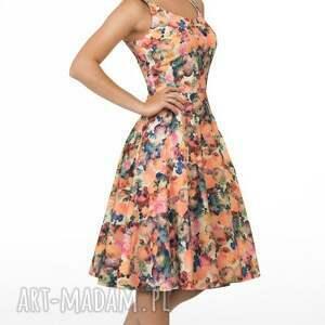 pomarańczowe sukienki kwiaty sukienka liza midi celine