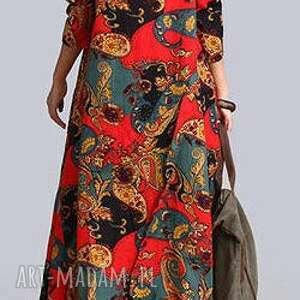ręcznie robione sukienki len sukienka lniana we wzory