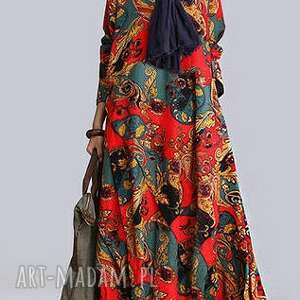 sukienka sukienki lniana we wzory