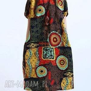 sukienki sukienka lniana wzorzysta