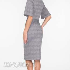 szare sukienki krata sukienka maja midi estera
