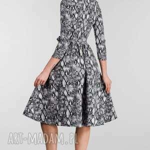 sukienki sukienka jesienna marie 3/4 midi wężowy