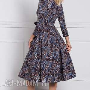 brązowe sukienki kolorowa sukienka marie 3/4 midi andrea