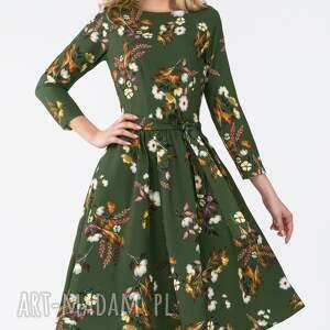 unikalne sukienki kwiaty sukienka marie 3/4 midi oliwia