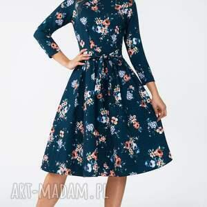 zielone sukienki kwiaty sukienka marie 3/4 midi berenika
