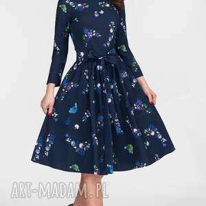 niebieskie sukienki midi sukienka marie 3/4 penelopa