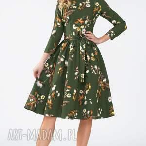 unikalne sukienki marszczenia sukienka marie 3/4 midi oliwia
