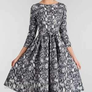 szare sukienki sukienka midi marie 3/4 wężowy
