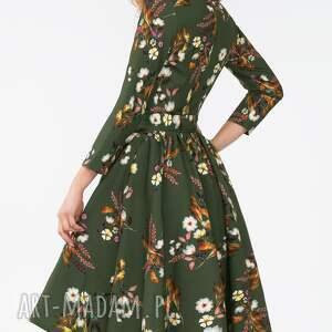 kwiaty sukienki zielone sukienka marie 3/4 midi oliwia