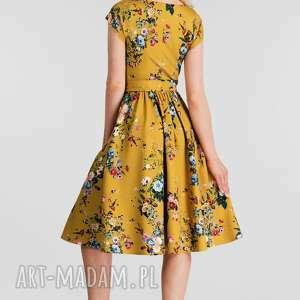 żółte sukienki midi sukienka marie -rozkloszowany dół