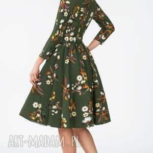 marszczenia sukienki sukienka marie 3/4 midi oliwia