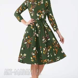 sukienki marszczenia sukienka marie 3/4 midi oliwia