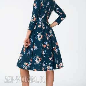 kratka sukienki turkusowe sukienka marie 3/4 midi berenika