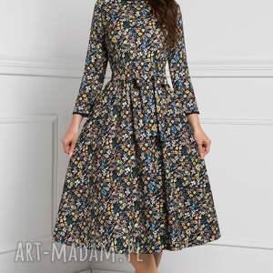 czarne sukienki w kwiaty sukienka marie 3/4 midi