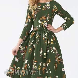 kolorowe sukienki wiązanka sukienka marie 3/4 midi oliwia