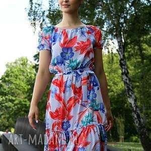 sukienka-w-kwiaty sukienki sukienka marita w tropikalny wzór