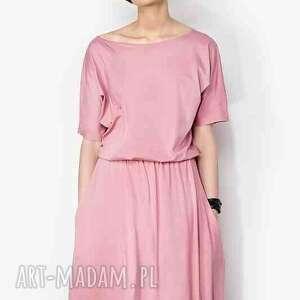 różowe sukienki sukienka maxi z kieszeniami