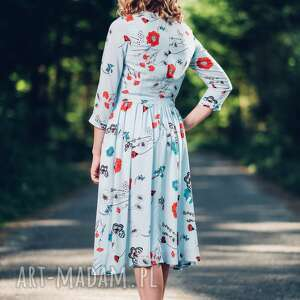 turkusowe sukienki midi sukienka z zwiewnej wiskozy