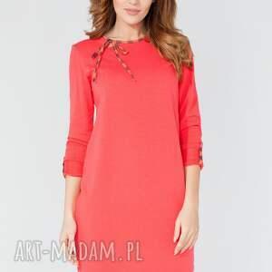 sukienki sukienka midi z ozdobną lamówką