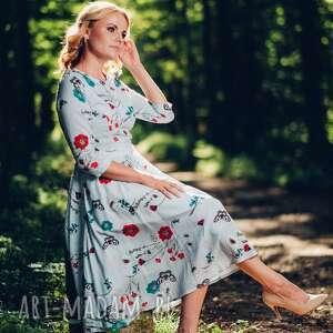 efektowne sukienki wiskoza sukienka midi z zwiewnej wiskozy
