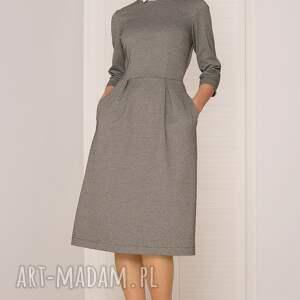 elegancka sukienki sukienka midi w pepitkę