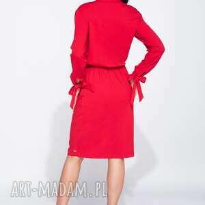 z wiązaniami sukienki czerwone sukienka na jesień