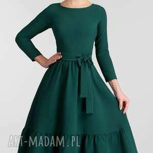 zielone sukienki rozkloszowana sukienka olga 3/4 midi