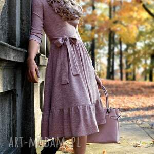 urokliwe sukienki falbana sukienka olga 3/4 midi melanż
