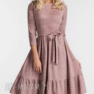 sukienka sukienki różowe olga 3/4 midi melanż