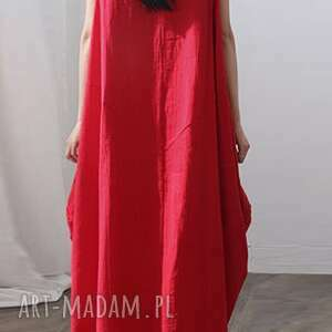 sukienki len sukienka oversize czerwona na lato