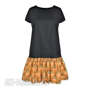 złoto sukienki sukienka pawie oczko mała czarna