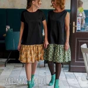 sukienki: Sukienka pawie oczko mała czarna Peacocktail Dress Emerald jesień