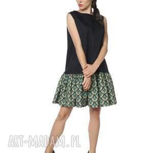 sukienki: Sukienka pawie oczko mała czarna Peacocktail Dress Emerald szmaragd