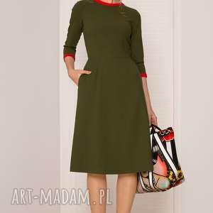 sukienki khaki sukienka retro