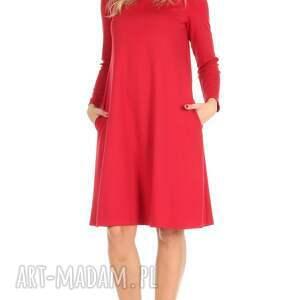 różowe sukienki sukienka rozkloszowana czerwona