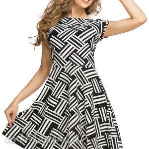 ręcznie zrobione sukienki sukienka rozkloszowana t183, wzór