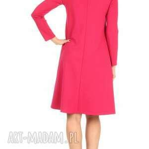 sukienki: Sukienka rozkloszowana fuksja, długa - kieszenie dzianina