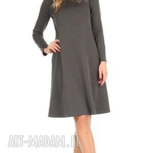 wyjątkowe sukienki lalu sukienka rozkloszowana c. szara