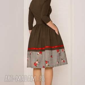 sukienki sukienka rozkloszowana khaki