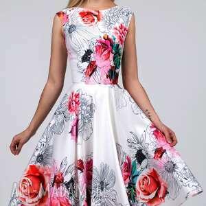 kwiaty sukienki czerwone sukienka scarlett midi delicja
