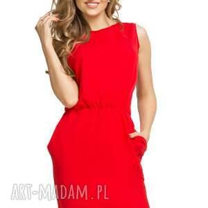TESSITA Sukienka ściągnięta w talii T132, czerwona