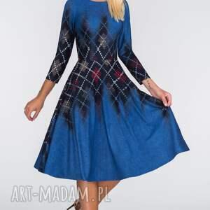 modne sukienki krata sukienka star 3/4 midi roxana 2